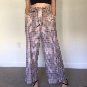 H&M Wide Leg Beige/ Checked Pants SZ 10